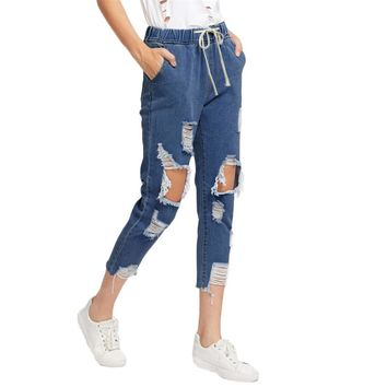 Drawstring Waist Ripped Blue Jeans