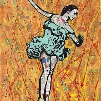 Fire Dancer Ballerina mixed media collage street art painting 18x24