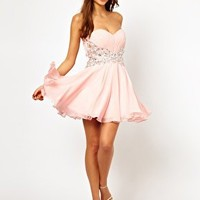 Forever Unique Bandeau Prom Dress with Embellished Waist at asos.com