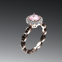 Classic Black and White Diamond Engagement Ring 14K Rose Gold with 6.5mm Round Cut Peach Morganite Center - V1062