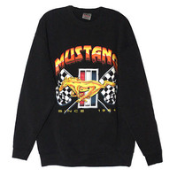 Vintage Mustang Cars Crewneck Sweatshirt  | Adult Size Large | 1980s Retro Shirt Tee Gift Cars Racing Fan Nascar