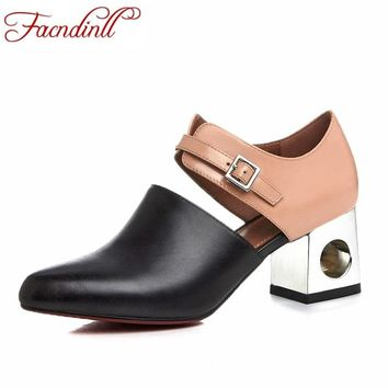 2017 new sexy pointed toe high heel women pumps genuine leather spring summer shoes woman fashion dress party casual shoes pumps