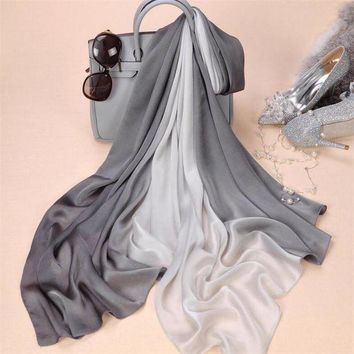 DCCKU62 2017 brand women silk scarf fashion soild spring Echarpe Smooth Summer Wrap female Voile Luxury Scarves Foulard Beach cover-ups