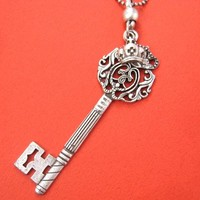 Antique Skeleton Key and Princess Crown Charm Necklace in Silver