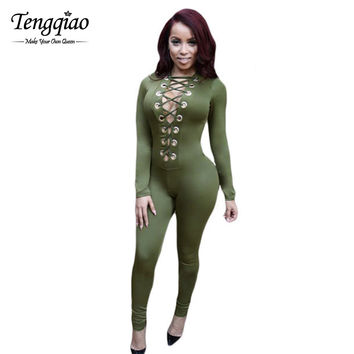 Style Long Sleeve Rompers  Jumpsuit Sexy Bodycon Jumpsuit Club Nightclub Green Playsuits One Piece Outfits SM6