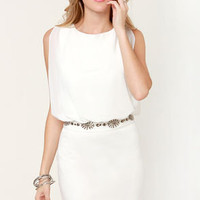 Top of Your Classy Ivory Beaded Dress