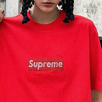 SUPREME Popular Women Men Casual Diamond Letter Short Sleeve T-Shirt Top Blouse