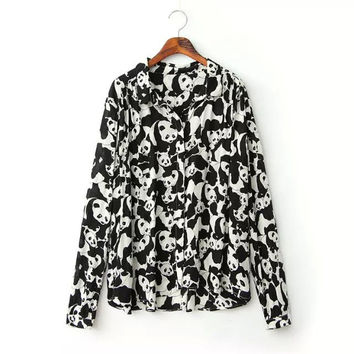 Summer Women's Fashion Tops Cats Pattern Shirt Blouse [6048468865]