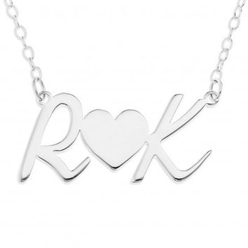 INITIAL HEART NECKLACE - STERLING SILVER