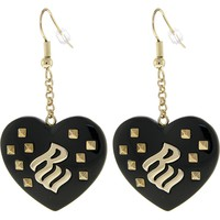 ROCAWEAR Black Resin RW Studded HEART Earrings