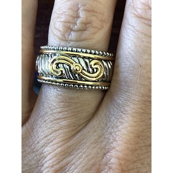 Sterling Silver Yellow Gold Elegant Statement Ring