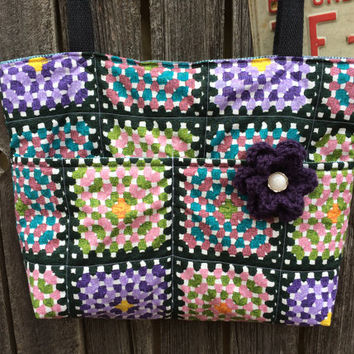 Quilted Crochet Printed Design, Granny Square, Chain Stitch, Large Carry All Tote Bag, Shoulder Bag, Double Crocheted Purple Flower, OOAK
