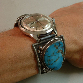 Rare BLUE DIAMOND Turquoise VINTAGE Native American Wrist Watch Band Tips Automatic Wristwatch Sterling Silver Hallmarked c.1960s