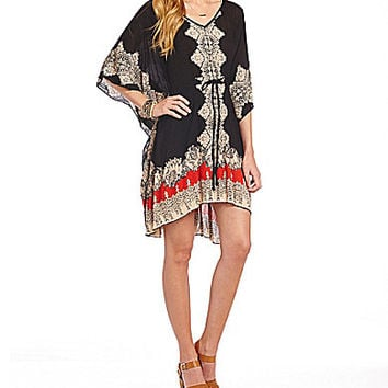 Angie V-Neck Dolman-Sleeve Woven Caftan Dress - Black/Multi
