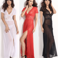 Sexy V-Neck Lace Long Nightgowns