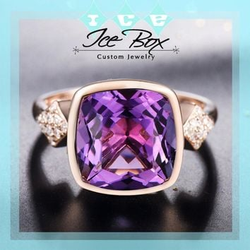 Amethyst Engagement Ring 3.7ct, 10mm Cushion Cut Amethyst  in a 14k Rose Gold Diamond bezel setting