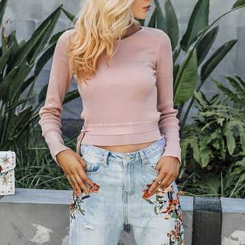 Cropped Tie Sweater