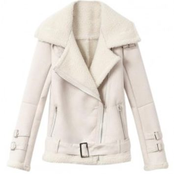 Big Lapel Collar Fur Coat