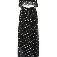 Black Star Ruffle Crop Top And High Waist Split Maxi Skirt