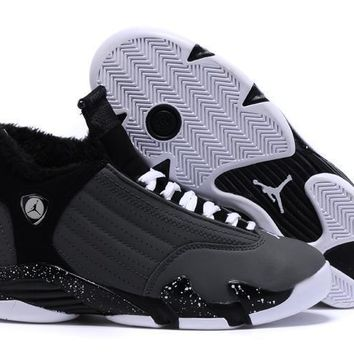 Air Jordan 14 Retro Aj14 Black/white Women Sneaker Shoe With Velvet Lining | Best Deal Online
