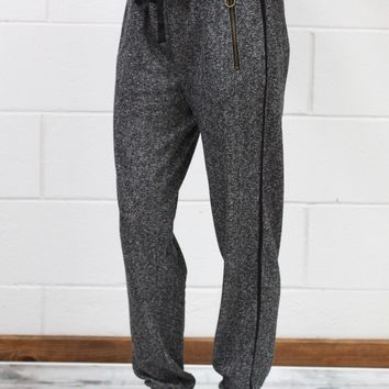 Heathered + Striped Joggers w/ Zip Pockets {Black}