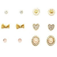 Floral Cameo Earring Set: Charlotte Russe