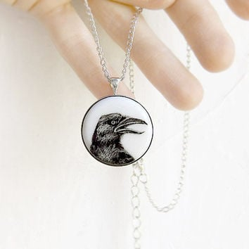 Pendant Necklace Raven Crow Portrait original hand painting, for birds crows lovers, black and white, birds silvertone jewelry