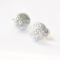 Tiny silver glitter dot post earrings by MeredithsLittleShop
