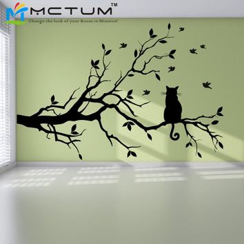 Modern Cat Tree Branch Wall Sticker Decals
