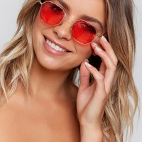 Out Of The Box Sunglasses Gold Red