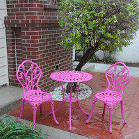 Michael Anthony Furniture Pink Tulip Cast Aluminum Outdoor 3-Piece Bistro Set