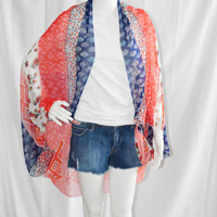 Americana Knotted Cocoon Cardigan/ Beach Cover up/ Lightweight Kimono Wrap/ Chiffon Shawl/ Versatile Oversized Scarf