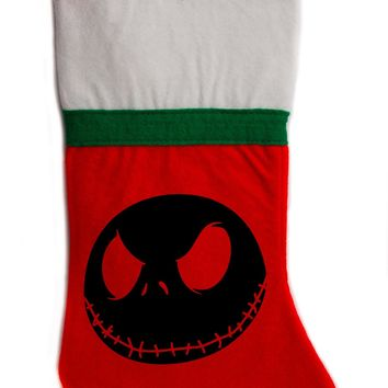"Negative Jack Skellington Nightmare Before Christmas Holiday Stocking 16"" Red/White Felt Hanging Sock Santa Stuffer"