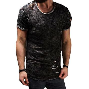 DCCKFS2 HOT Fashion Summer Ripped Clothes Men Tee Hole Solid T-Shirt Slim Fit O Neck Short Sleeve Muscle Casual Jersey Tops T Shirts