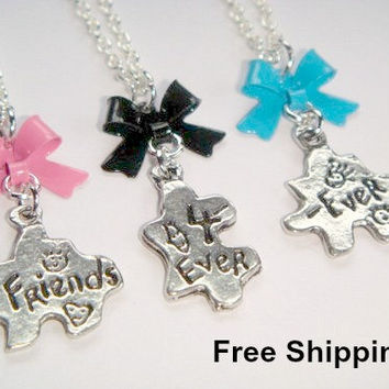 Best Friends Forever Necklaces - Set of 3 Necklaces - Friends 4Ever & Ever - Bow Charm Necklaces - Puzzle Piece Charms - Friendship Jewelry