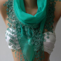 Emerald - Cotton/ Traditional Turkish fabric / Anatolian Shawl/Scarf