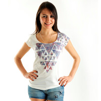 New Arrival! Lilac Geometric Women t-shirt summer fashion, one side printed