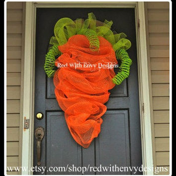 The Original LARGE Carrot Wreath for Easter, Easter Wreath, Carrot Wreath, OOAK, Wreath, Carrot, Easter, Unique Wreath, Deco Mesh Wreath