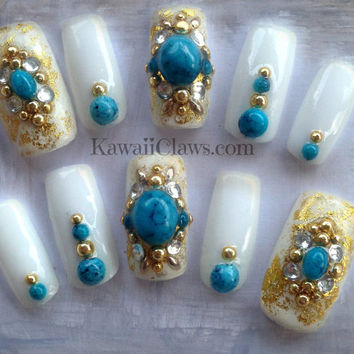 White & Turquoise false/fake 3D nails japanese gel nail art with Studs and gold foiling