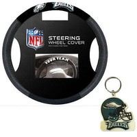 Licensed Official New Philadelphia Eagles Poly-Suede Mesh Car Truck Steering Wheel Cover Keychain