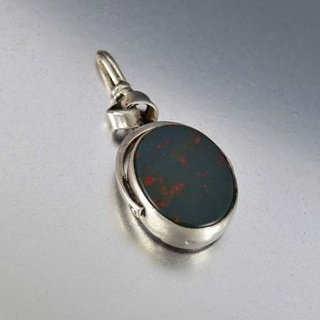 Bloodstone and Carnelian Silver English Watch Fob Pendant