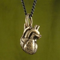 Handmade Gifts | Independent Design | Vintage Goods Anatomical Heart Necklace - Small Bronze - i love her!
