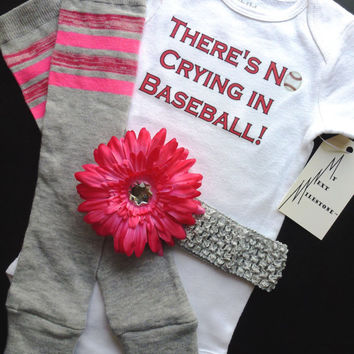 There's No Crying in Baseball Onesuit Leg warmer and Headband Flower clip Set Pink and White Infant Baby Toddler Sizes Personalized Custom
