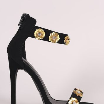 Qupid Nubuck Sequin Floral Applique Ankle Strap Stiletto Heel