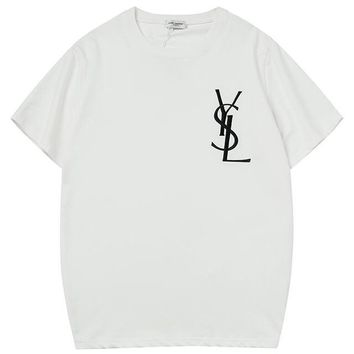 YSL 2019 new simple embroidery letters men and women round neck half sleeve t-shirt white