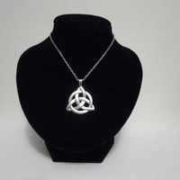 Silver Celtic Triquetra Trinity Knot Pendant Necklace Goth Pagan Magic Wicca