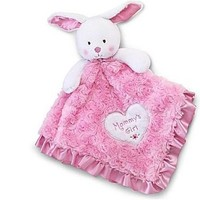 "Baby's Plush Security Blanket Bunny ""Mommy's Girl"" Lovey Pink & White"