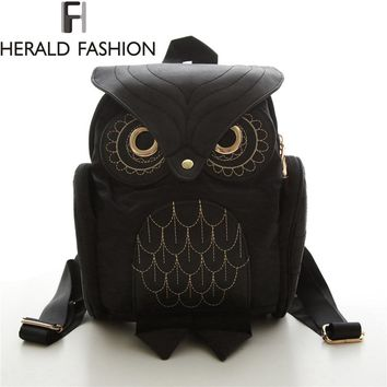Black Faux Leather Owl Backpack