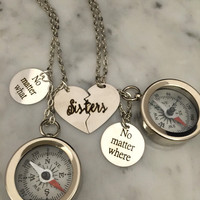 Sister Gift, Sister Engraved Necklace, Sister Compass, Silver Compass, Engraved Compass, Heart Charm Compass, Engraved Necklace,Sister Charm