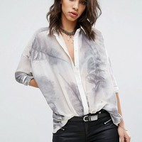 Religion Sheer Shirt In Feather Print at asos.com